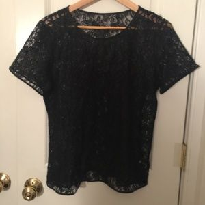 American Apparel Black Lace T-Shirt